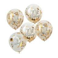 Konfetti-Ballons  Oh Baby gold Babyshower (5 Stück)