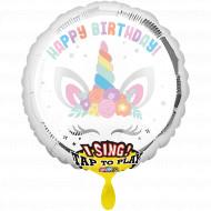 Singender Ballon - Happy Birthday  Einhorn