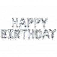 Schriftzug - Happy Birthday Silber  LUFTFÜLLUNG