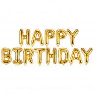 Schriftzug - Happy Birthday Gold  LUFTFÜLLUNG