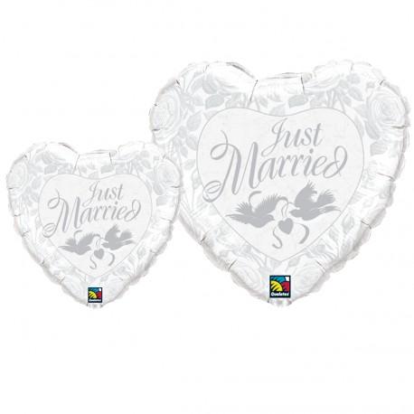 Just Married Tauben Silber - 45 cm