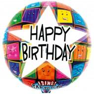 Singender Ballon - Happy Birthday Gesichter