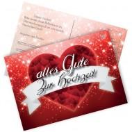 Ballonflugkarten - Alles Gute zur Hochzeit /rotes Herz