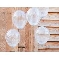 Konfetti-Ballons  weiß  (5 Stück)