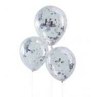 Konfetti-Ballons  silber (5 Stück)
