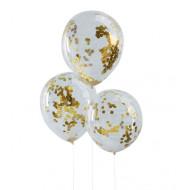 Konfetti-Ballons  gold  (5 Stück)