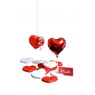 Ballongewicht Herz - rot/weiß