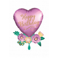 Happy Birthday Satin Heart with Flowers