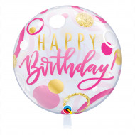 Happy Birthday pink & gold -  Bubble