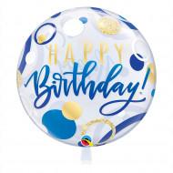 Happy Birthday blau & gold -  Bubble